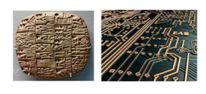 printed circuit board and a stone with hieroglyph image