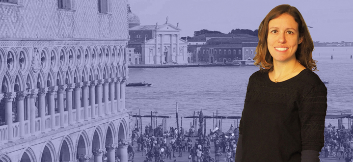 ICCV2017 phtoto of a Woman in front and Venice in background