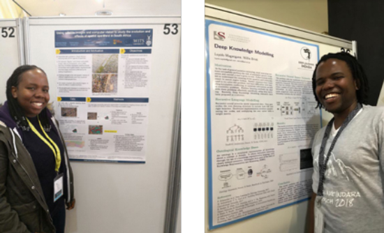 Figure 1 photo of Raesetje (left) and Luyolo (right) presenting their posters.