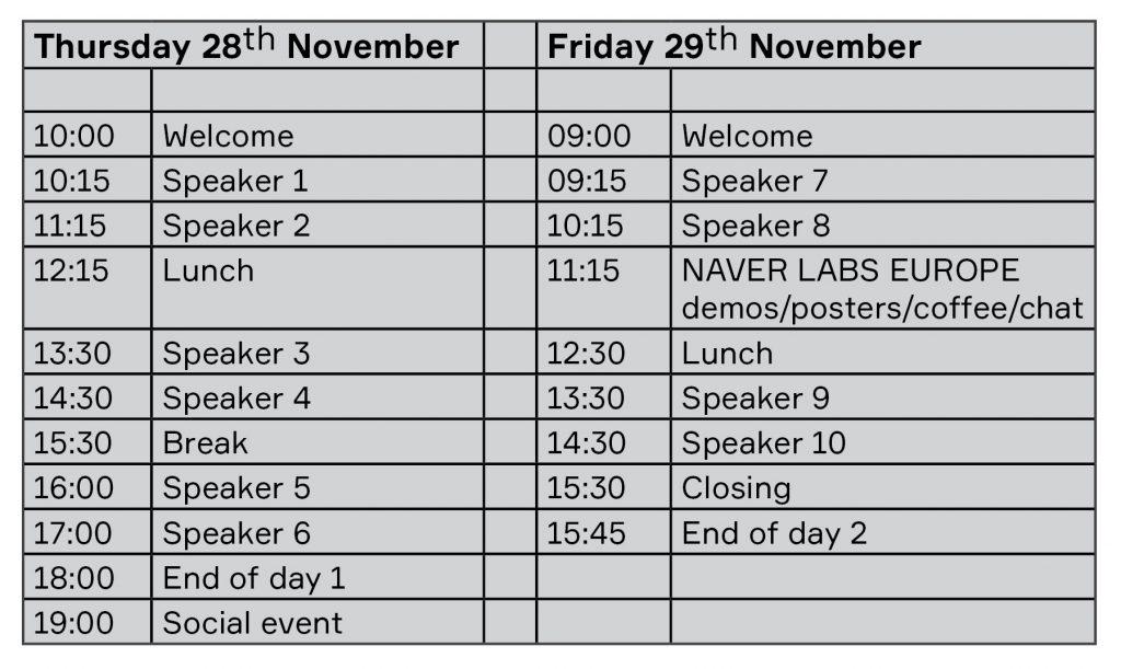 agenda AI robotics workshop