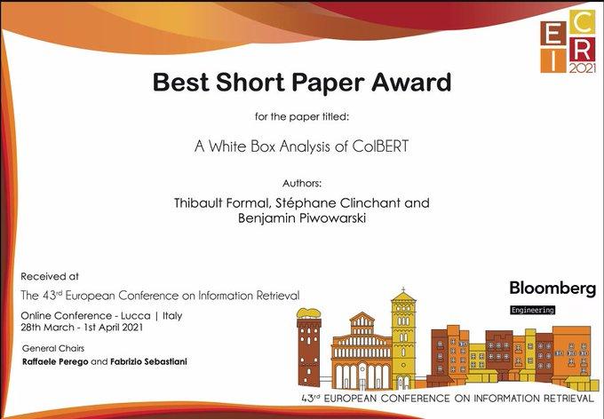 ECIR2021 Best Short Paper Award